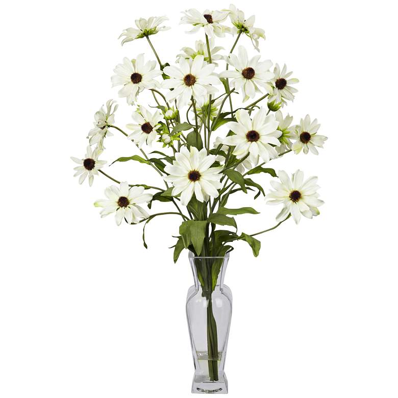 "White Cosmos 27"" High Faux Flowers in Glass"