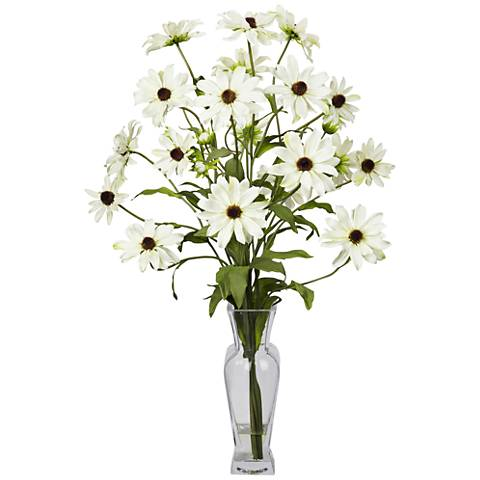 "White Cosmos 27"" High Faux Flowers in Glass Vase"