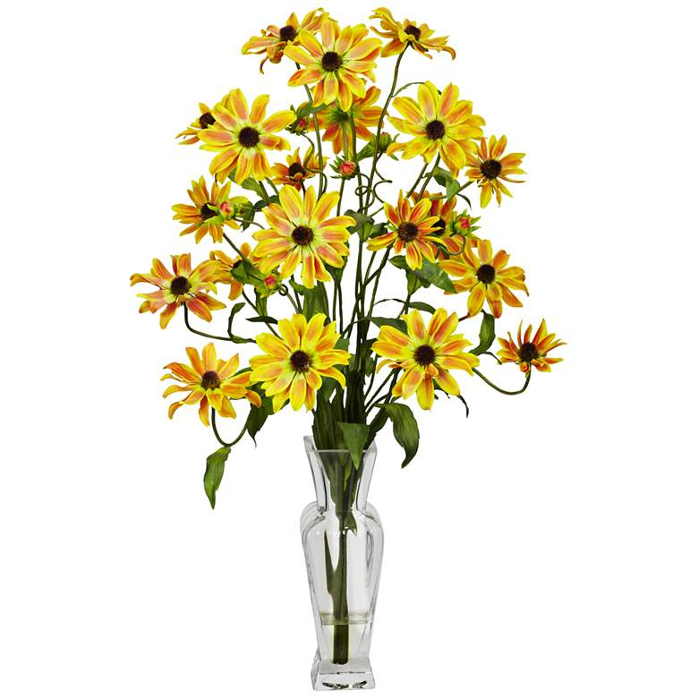 """Yellow Cosmos 27"""" High Faux Flowers in Glass Vase"""