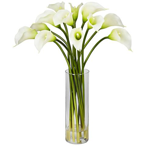 "Cream Mini Calla Lily 20"" High Faux Flowers in Glass Vase"