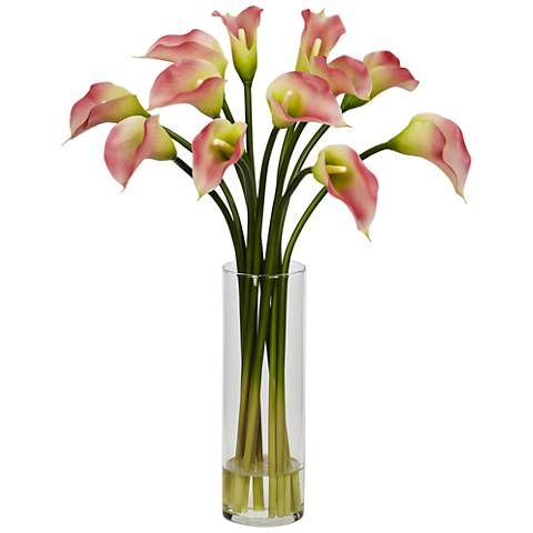 "Pink Mini Calla Lily 20"" High Faux Flowers in Glass Vase"