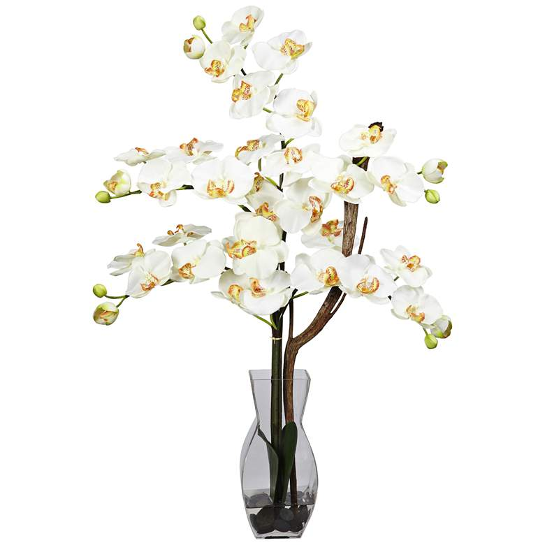 """Cream Phalaenopsis Orchid 29""""H Faux Flowers in Glass Vase"""