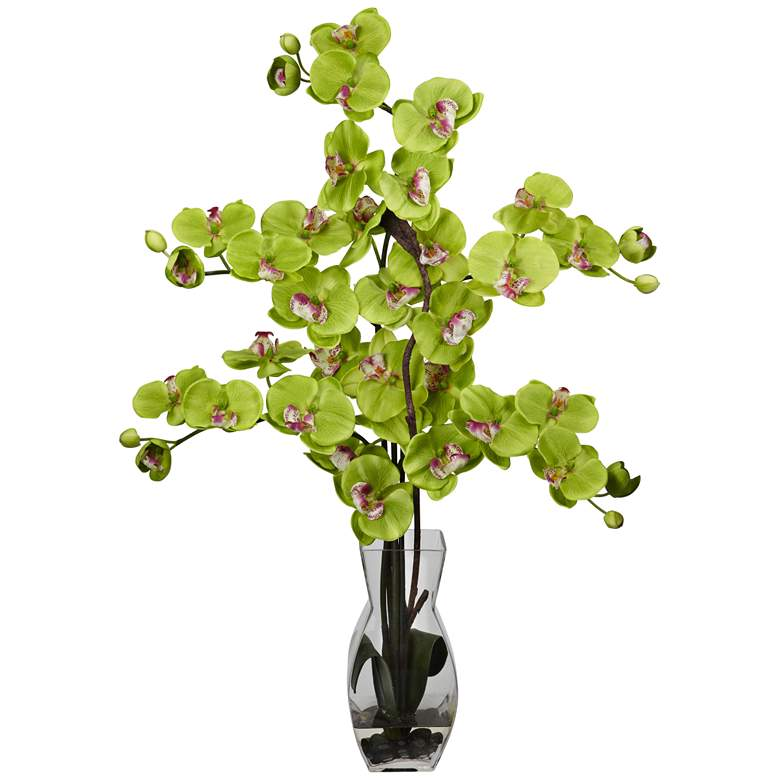 """Green Phalaenopsis Orchid 29""""H Faux Flowers in Glass Vase"""