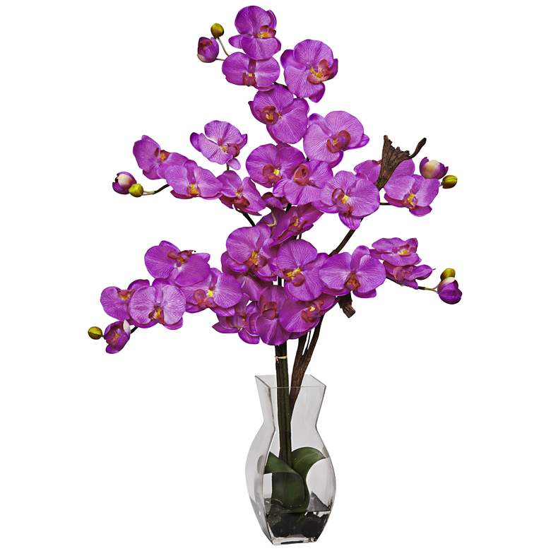"""Purple Phalaenopsis Orchid 31""""H Faux Flowers in Glass Vase"""