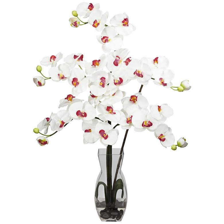 """White Phalaenopsis Orchid 31""""H Faux Flowers in Glass Vase"""