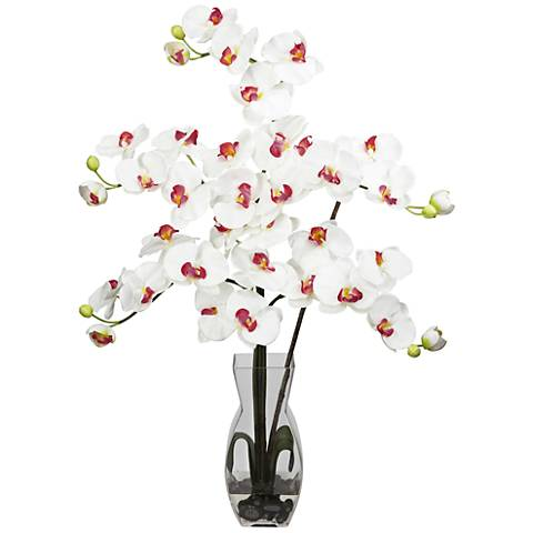 "White Phalaenopsis Orchid 31""H Faux Flowers in Glass Vase"