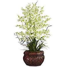 """Green Dancing Lady 30"""" High Faux Flowers in Burgundy Pot"""