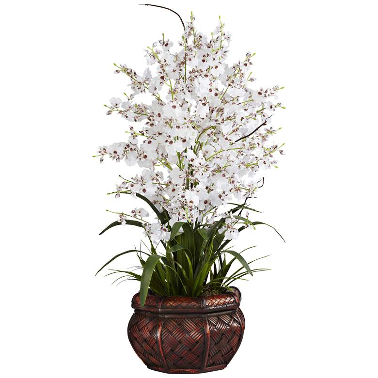 """White Dancing Lady 30"""" High Faux Flowers in Burgundy Pot"""