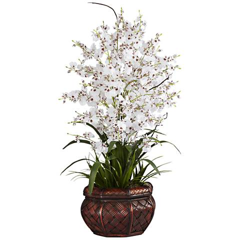 "White Dancing Lady 30"" High Faux Flowers in Burgundy Pot"