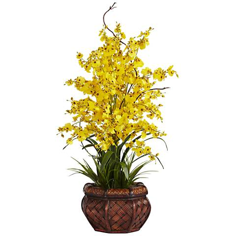 "Yellow Dancing Lady 30"" High Faux Flowers in Burgundy Pot"
