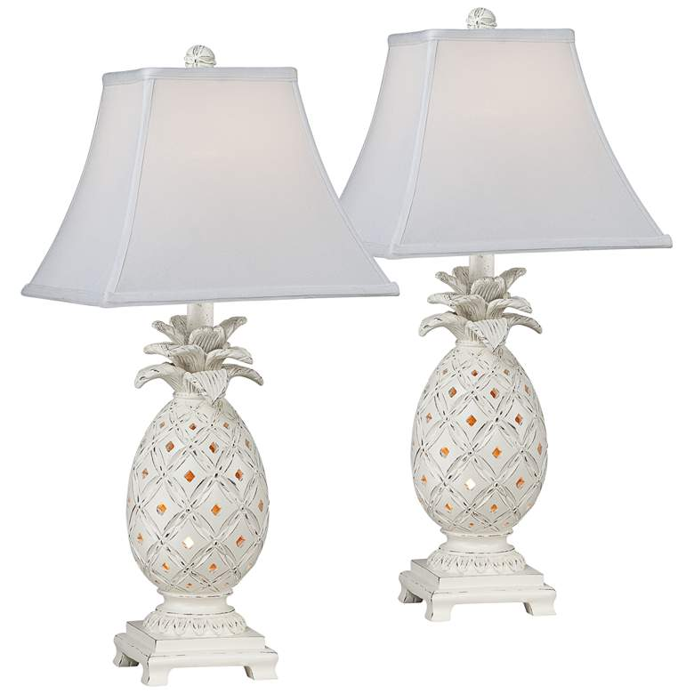 Pineapple Antique White Night Light Table Lamps Set of 2