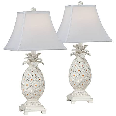 Pineapple Antique White Table Lamp with Nightlight Set of 2