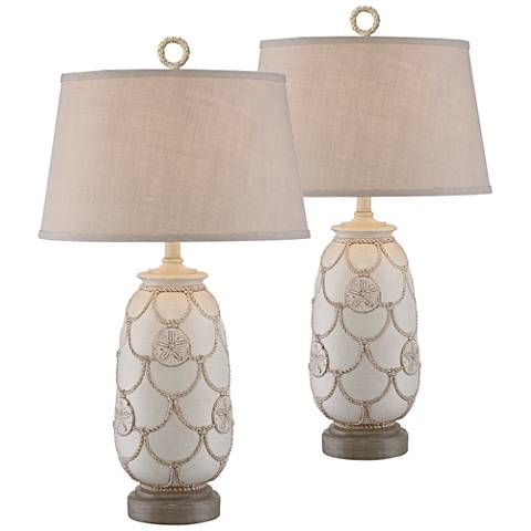 Scallop Antique Sand Coastal Table Lamp Set of 2