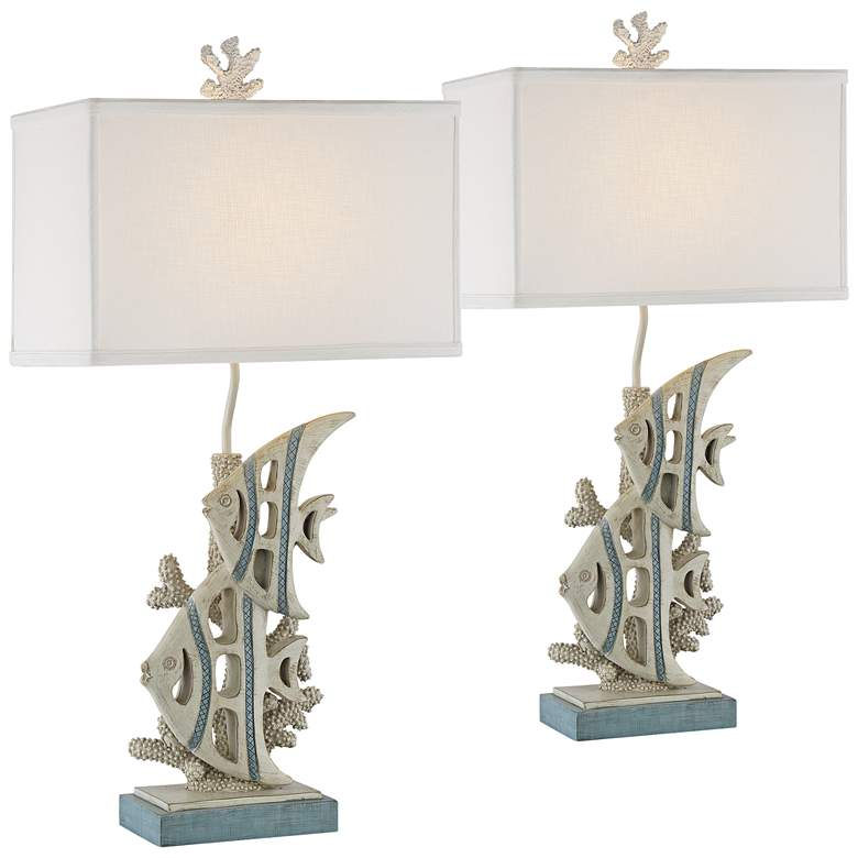 Angel Fishes Antique Sandy Gray Sculpted Coastal Table Lamp