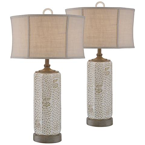 Seashell Dots Antique Sand Coastal Table Lamp Set of 2
