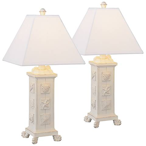 Seashells Antique White Square Column Table Lamp Set of 2