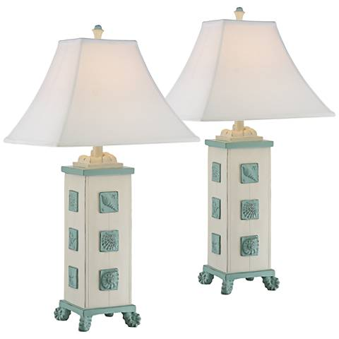 Blue Seashells Antique White Square Column Table Lamp Set of 2