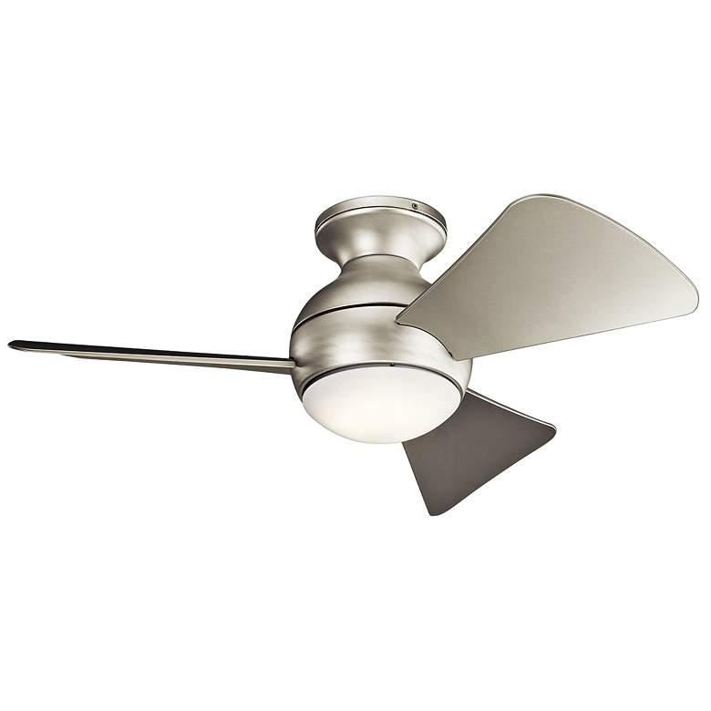"""34"""" Sola Satin Nickel Wet LED Hugger Ceiling Fan"""
