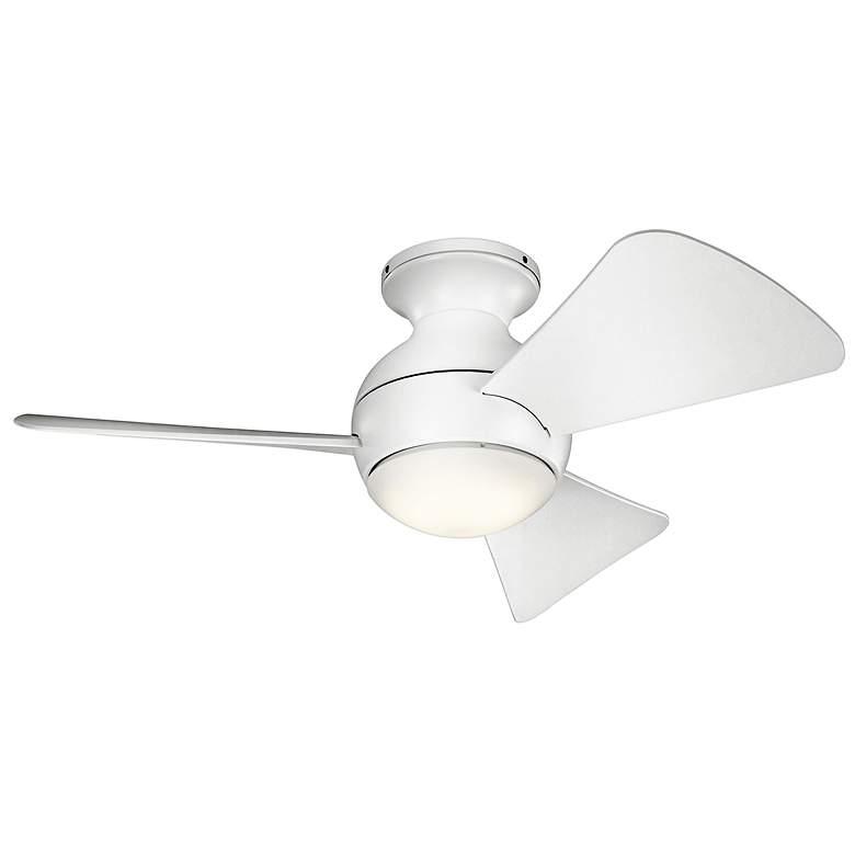 """34"""" Sola Matte White Wet LED Hugger Ceiling Fan"""