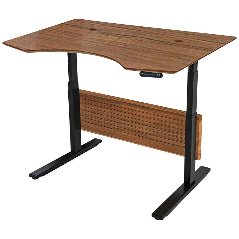"Prestige 51"" Wide Teak Wood Adjustable Sit-Stand Desk"