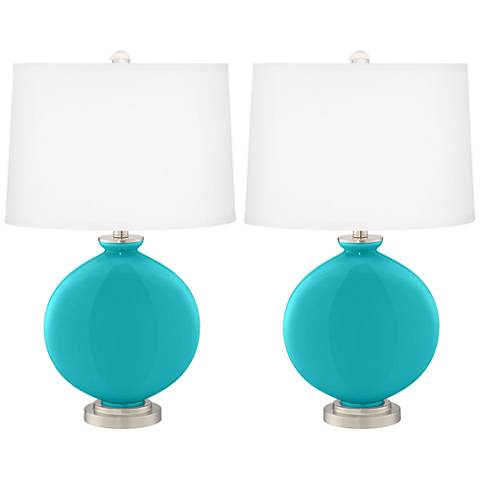 Surfer Blue Carrie Table Lamp Set of 2
