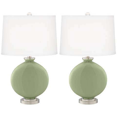Majolica Green Carrie Table Lamp Set of 2