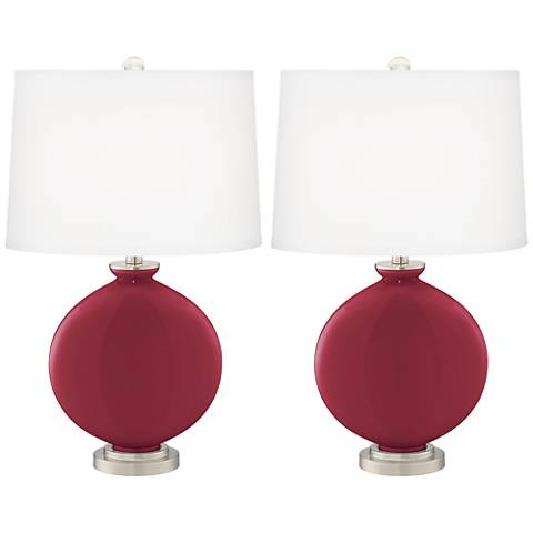 Antique Red Carrie Table Lamp Set of 2