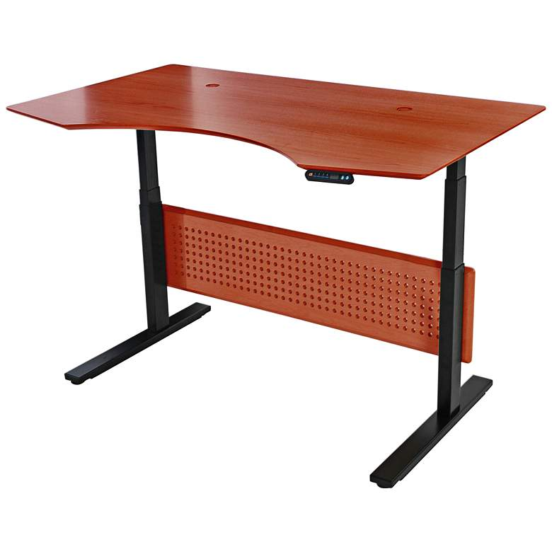 "Prestige 63"" Wide Cherry Wood Adjustable Sit-Stand Desk"