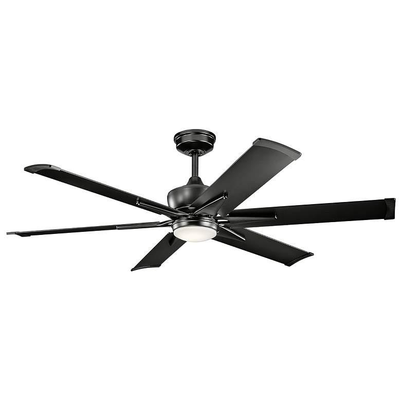 """60"""" Kichler Szeplo II Satin Black Wet LED Ceiling Fan"""
