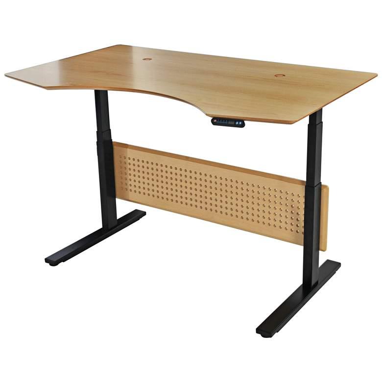 """Prestige 63"""" Wide Maple Wood Adjustable Sit-Stand Desk"""