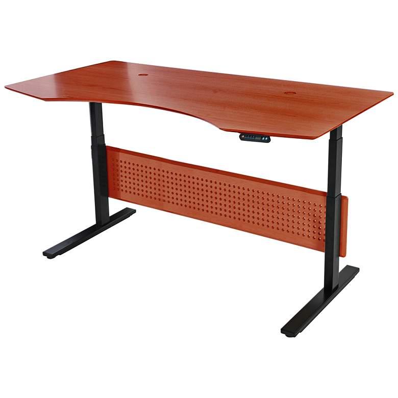 "Prestige 75"" Wide Cherry Wood Adjustable Sit-Stand Desk"