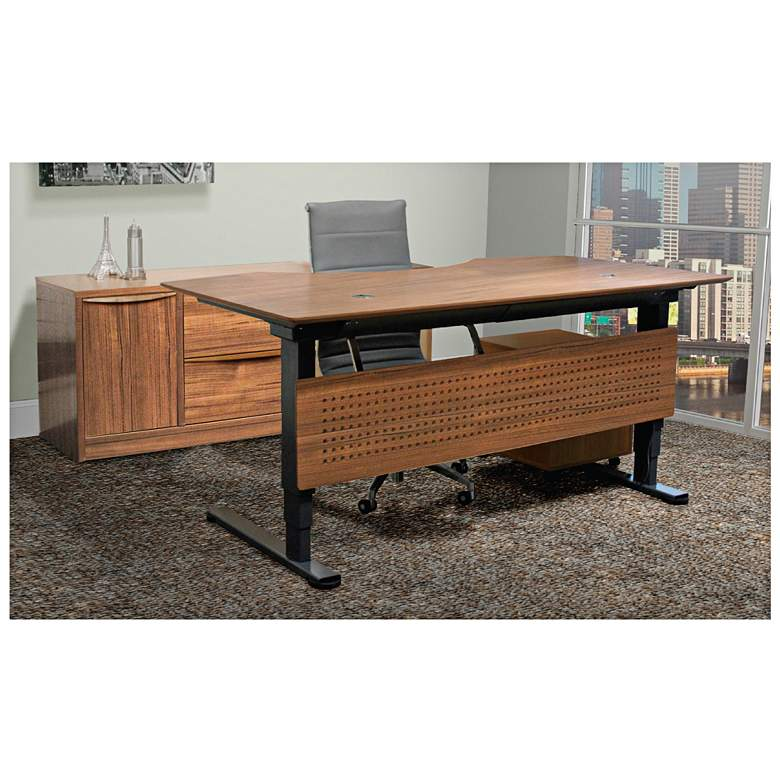 "Prestige 75"" Wide Teak Wood Adjustable Sit-Stand Desk"