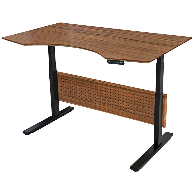 """Prestige 63"""" Wide Teak Wood Adjustable Sit-Stand Desk"""