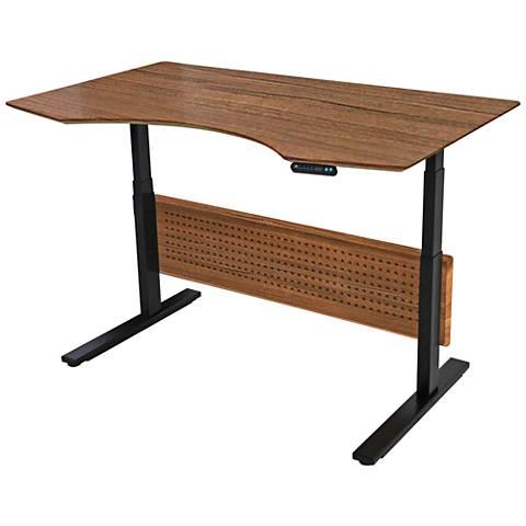 Unique Prestige Sit-Stand Medium Teak Adjustable Desk