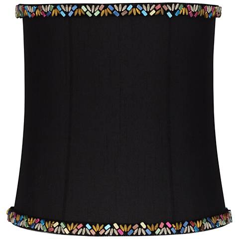 Morrell Black Bead Trim Drum Lamp Shade 9x10x10 (Spider)