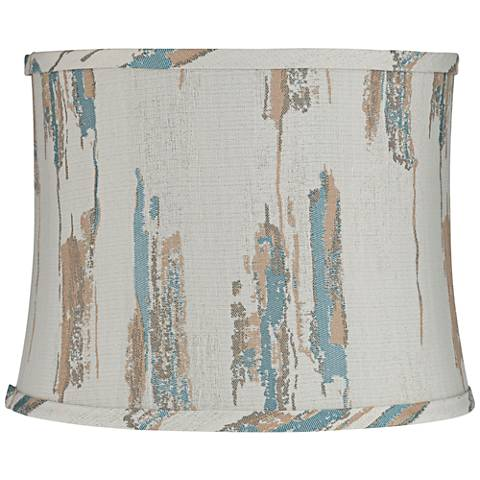 Moss Blue and Tan Drum Lamp Shade 12x13x10 (Spider)