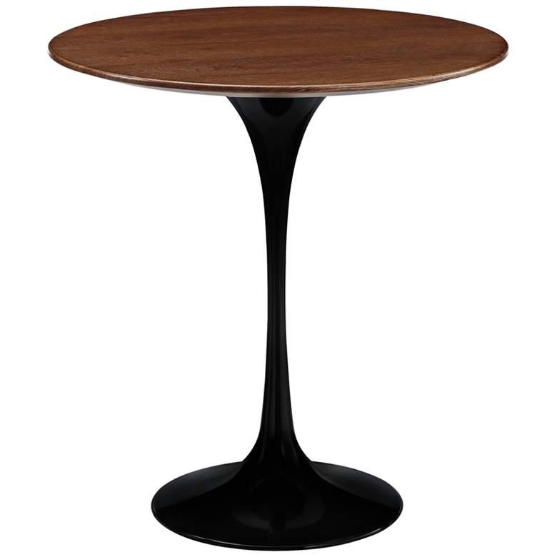 "Lippa 19 1/2"" High Black Finish Round Modern Side Table"