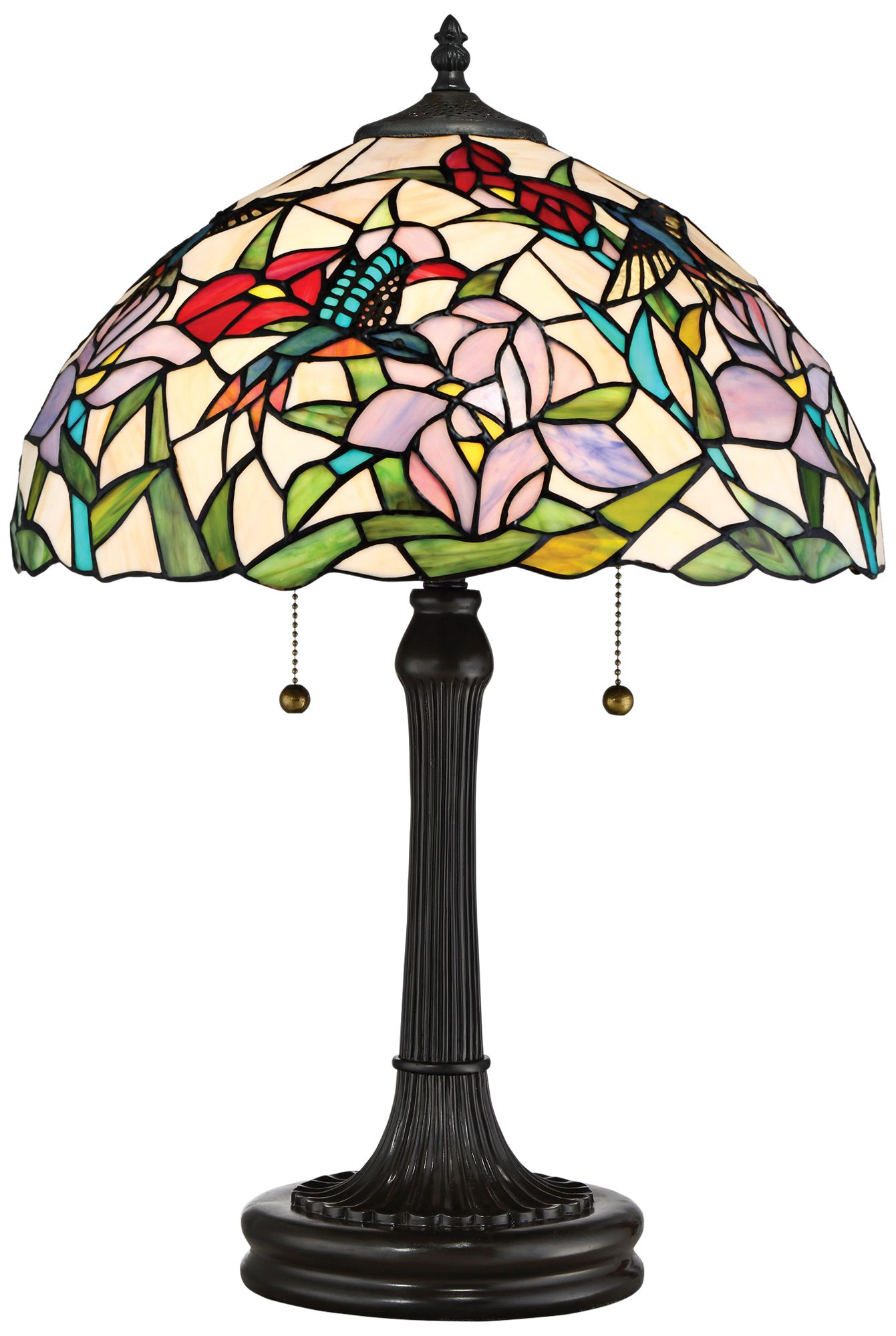 Quoizel Hummingbird Vintage Bronze Tiffany Style Table Lamp