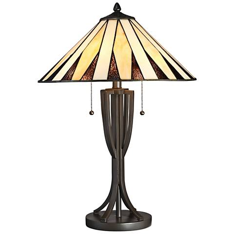 Quoizel Legend Western Bronze Tiffany Style Art Glass Table Lamp