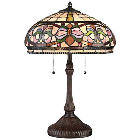 Quoizel Meadow Russet Tiffany Style Art Glass Table Lamp