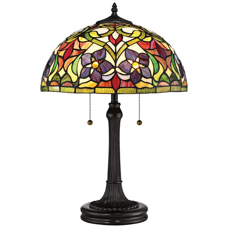 Quoizel Violets Vintage Bronze Tiffany Style Art Glass Table Lamp
