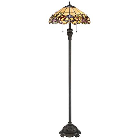 Quoizel Blossom Imperial Bronze Tiffany Style Floor Lamp