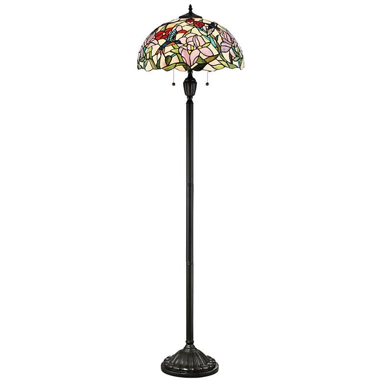 Quoizel Hummingbird Vintage Bronze Tiffany Style Floor Lamp