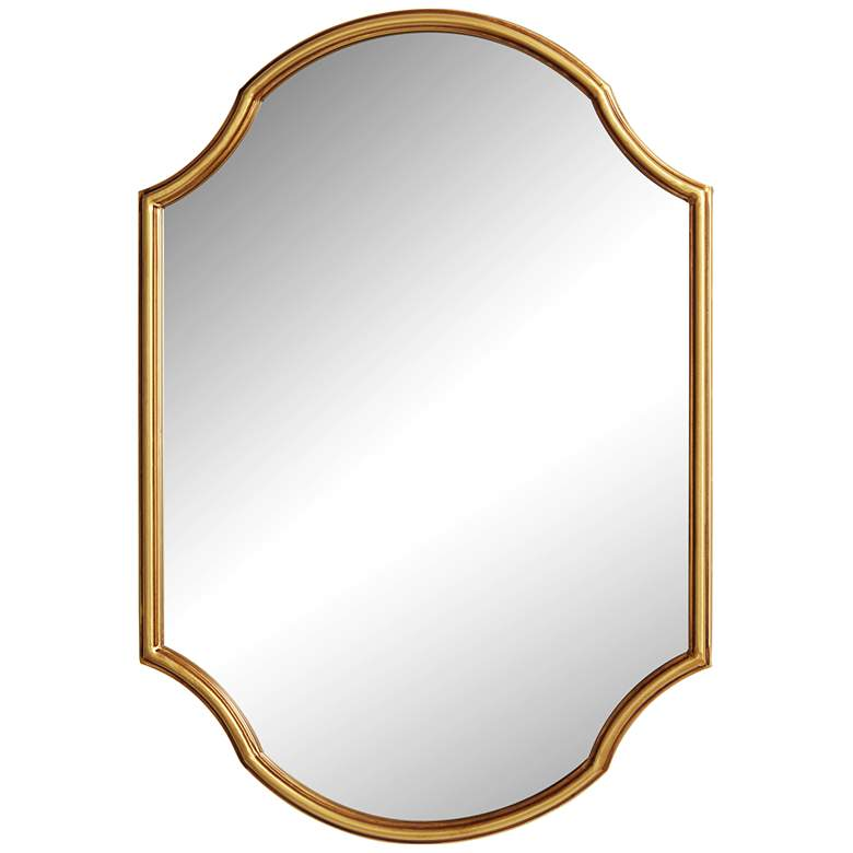 "Gold Oval 26 1/2"" x 38"" Curved Edge Wall Mirror"