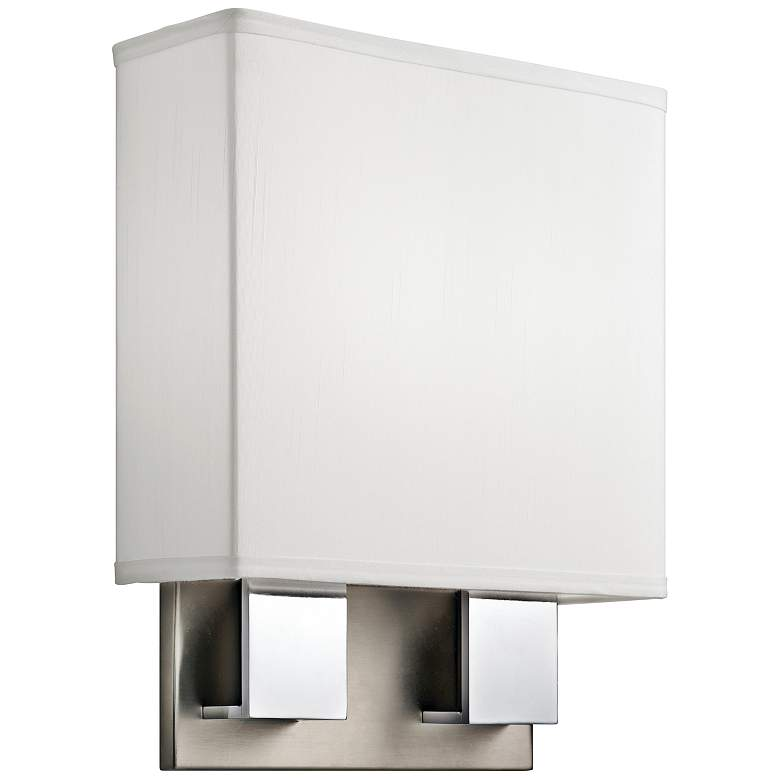 "Kichler Santiago 14 1/4""H Nickel and Chrome 2-LED Wall Sconce"