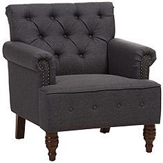 Baxton Studio Christa Dark Gray Fabric Armchair