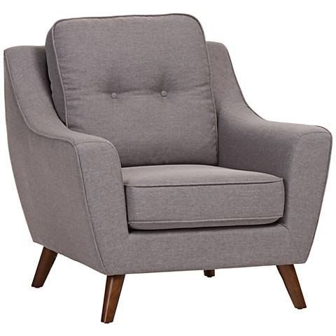 Baxton Studio Deena Light Gray Fabric Armchair