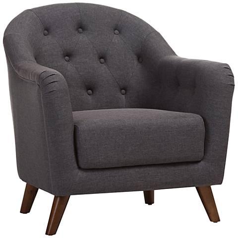 Baxton Studio Lotus Dark Gray Fabric Armchair