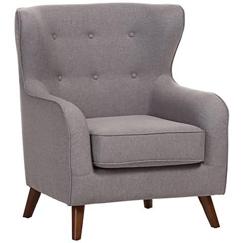 Baxton Studio Ludwig Light Gray Fabric Armchair