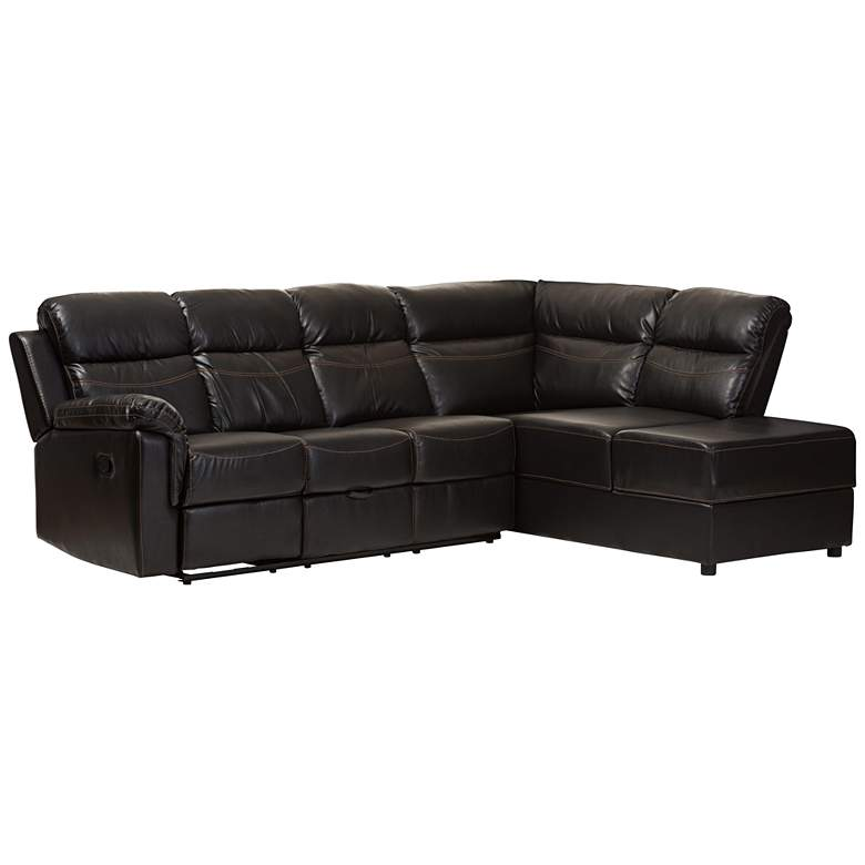Baxton Studio Roland Black Faux Leather 2-Piece Sectional